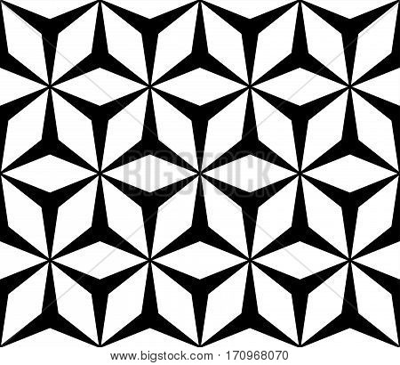 Vector monochrome seamless pattern, simple repeat geometric texture, polygonal floral ornament, black & white contrast mosaic background. Design element for prints, decoration, textile, furniture, wrapping, cloth