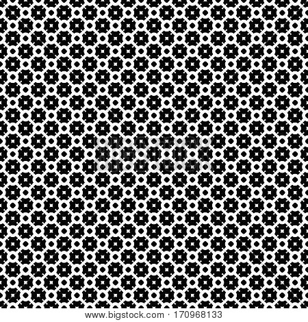 Vector seamless pattern, simple abstract black & white texture. Smooth geometric figures, illustration of lattice. Monochrome repeat background. Design element for prints, textile, furniture, decoration, fabric, cloth, digital, web