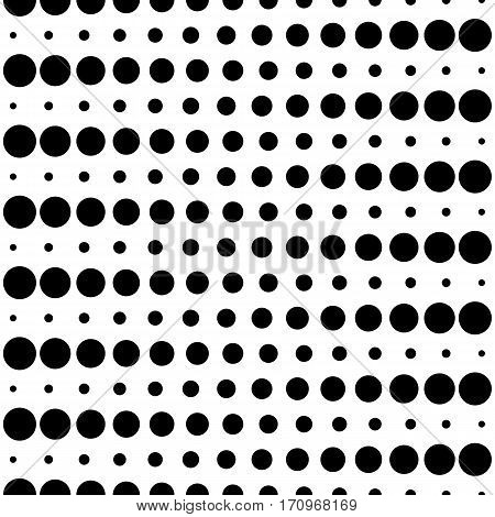 Vector monochrome seamless pattern, different sized circles & dots, black & white horizontal rows. Modern simple endless background. Trendy repeat geometric texture for your designs, prints, decoration, digital, web