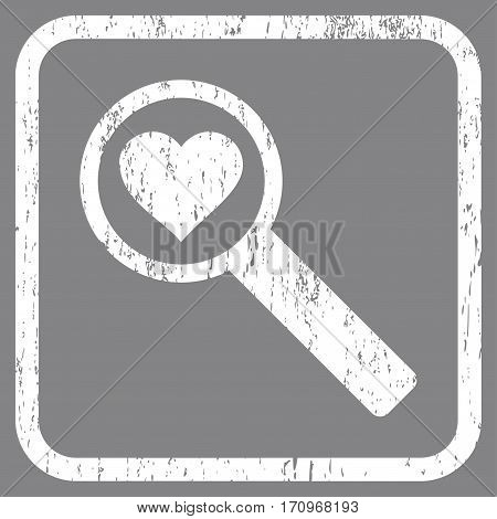 Find Love rubber watermark. Vector pictogram symbol inside rounded rectangle with grunge design and dust texture. Stamp seal illustration. Unclean white ink emblem on a gray background.