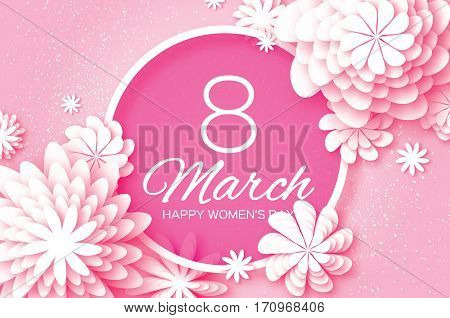 White Pink Paper Cut Flower. 8 March. Women's Day Greeting card. Origami Floral bouquet. Circle frame. Space for text on pink background. Happy Mother's Day. Vector Spring illustration
