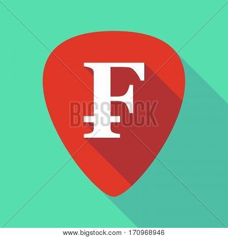 Long Shadow Guitar Pick With A Swiss Franc Sign