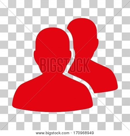 User Accounts icon. Vector illustration style is flat iconic symbol red color transparent background. Designed for web and software interfaces.