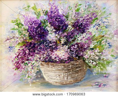Original oil painting of beautiful vase or bowl of fresh lavender flowers. on canvas.Modern Impressionism modernismmarinism