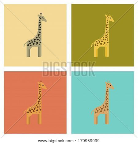 assembly of flat icons nature cartoon giraffe