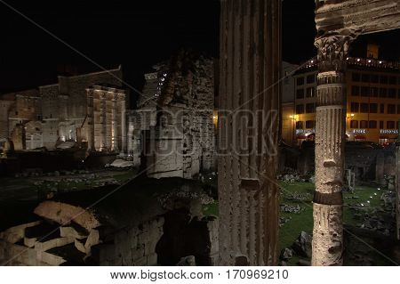 ROME ITALY - JANUARY 26 2017: Forum of Nerva at night Latin: Forum Nervae