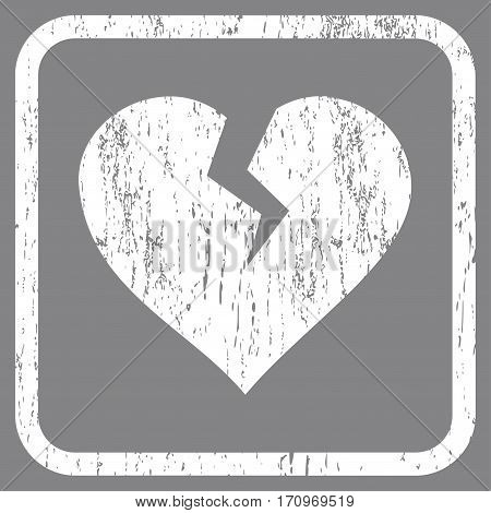 Heart Break rubber watermark. Vector pictogram symbol inside rounded rectangular frame with grunge design and dust texture. Stamp seal illustration. Unclean white ink sticker on a gray background.