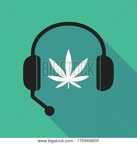 Long Shadow Headphones With A Marijuana Leaf