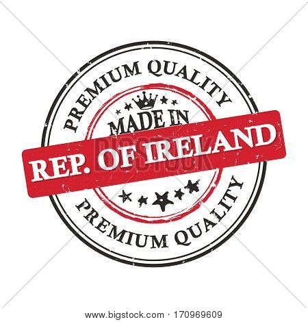 Made in Republic of Ireland, Premium Quality grunge printable label / stamp / sticker. CMYK colors used.