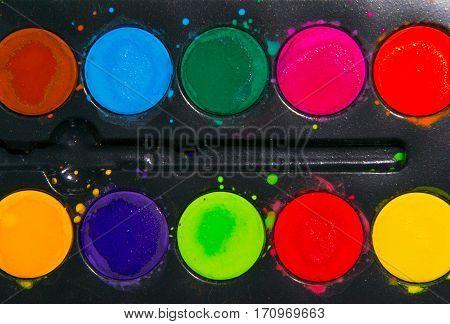 Watercolor paint, palette of aquarelle paint, art