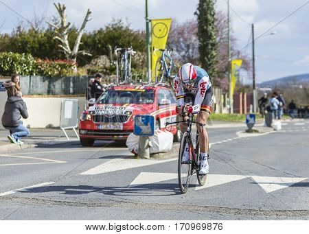 Conflans-Sainte-HonorineFrance-March 62016: The Belgian cyclist Jelle Vanendert of Lotto-Soudal Team riding during the prologue stage of Paris-Nice 2016.