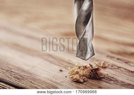 Metal Drill Bit Make Holes In Wooden Board With Expressive Texture
