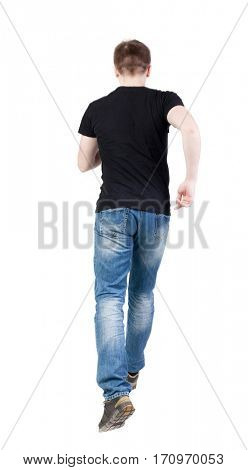 Back view of running man. Walking guy in motion. Rear view people collection. Backside view of person. Isolated over white background.