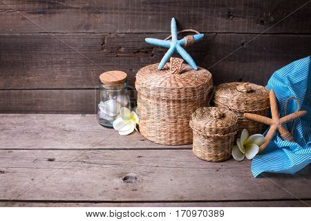 Background with marine items on wooden planks. Travel summer vacation theme. Selective focus. Place for text.