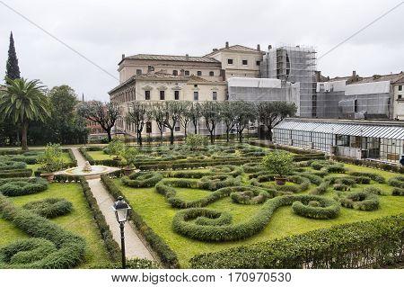 ROME ITALY - FEBRUARY 5 2017: Italian gardens of the Palazzo Barberini
