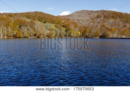 Lake Santa Fe Montseny. Spain. Located in a beautiful setting of Barcelona. Autumn colors