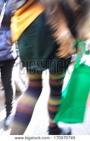 shopping concept blurry woman in colorful hose
