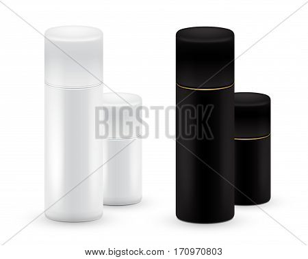Black and white Bottles of aerosol spray, metal bottle for cosmetic, perfume or hairspray. Deodorant packing