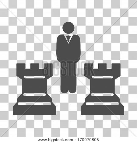 Strategy Chess Towers icon. Vector illustration style is flat iconic symbol gray color transparent background. Designed for web and software interfaces.