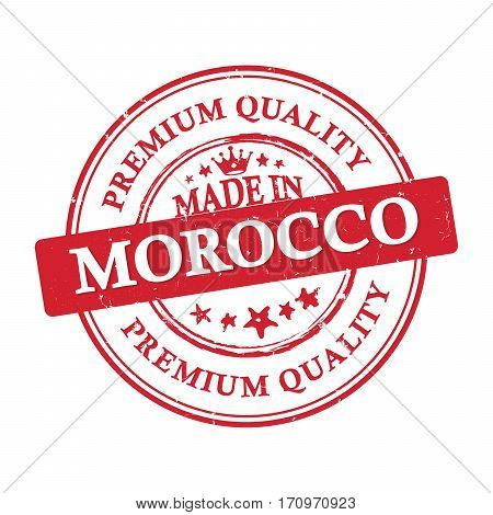 Made in Morocco, Premium Quality grunge printable label / stamp / sticker. CMYK colors used.