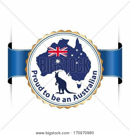 Proud to be an Australian -  printable stamp / label / sticker with the Australian map and flag and a kangaroo. Print colors (cmyk) used