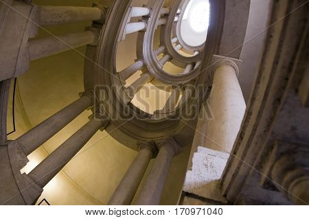 ROME ITALY - FEBRUARY 5 2017: Helicoidal staircase by Borromini in the Palazzo Barberini