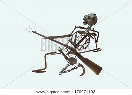 allegory of war rusty warrior with gun over white background