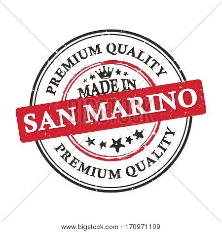 Made in San Marino, Premium Quality grunge printable label / stamp / sticker. CMYK colors used.