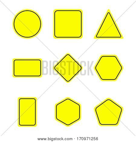 Flat warning sign set. Warning signposts vector illustration. Collection of yellow symbols on white background. Color attention signs. Isolated vector warning sign set.