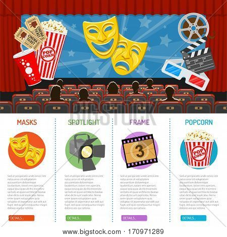 cinema auditorium infographics with flat icons seats, audience and theater masks on screen, vector illustration