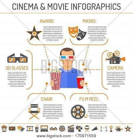 Cinema and Movie infographics with two color and flat Icons Set like popcorn, award, director chair, camera, 3D glasses and viewer. Isolated vector illustration