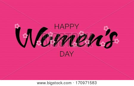 Happy Womens Day typographic lettering on pink red background with pink light flowers. Vector Illustration of a Women's Day card.