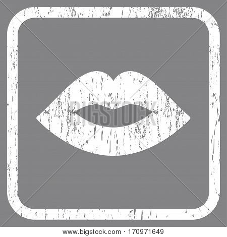 Lips rubber watermark. Vector pictogram symbol inside rounded rectangular frame with grunge design and dirty texture. Stamp seal illustration. Unclean white ink sign on a gray background.