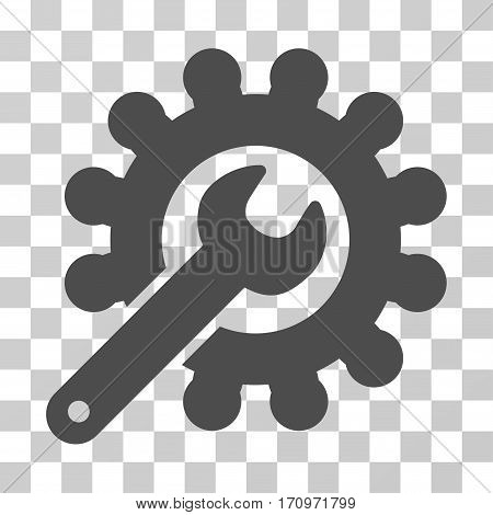 Wrench And Gear Customization Tools icon. Vector illustration style is flat iconic symbol gray color transparent background. Designed for web and software interfaces.