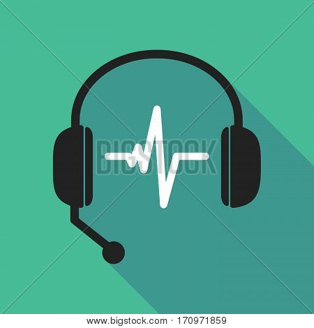 Long Shadow Headphones With A Heart Beat Sign