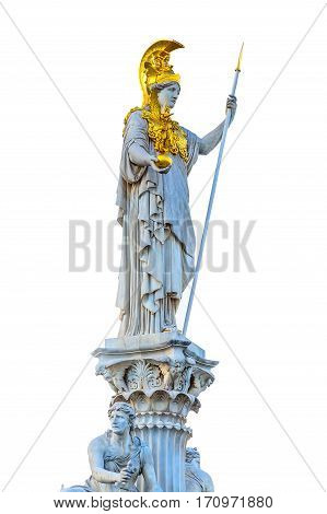 Statue of Pallas Athena in golden helmet, Vienna, Austria isolated on white background