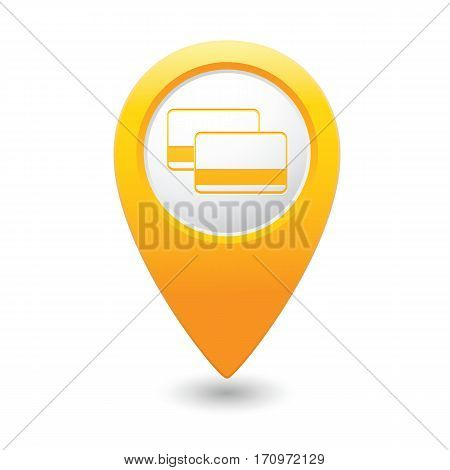 Map pointer with bank credit cards sign. Vector illustration