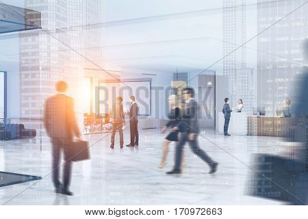 Business people rushing through an office hall with marble floor a reception counter a large whiteboard hanging in a conference room. 3d rendering. Toned image. Double exposure.
