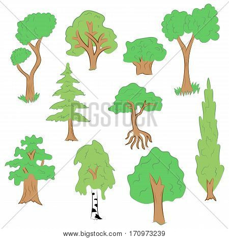 Hand Drawn Set of Trees. Doodle Drawings of Green Fir Cypress Birch Oak in Flat Style Vector Illustration.