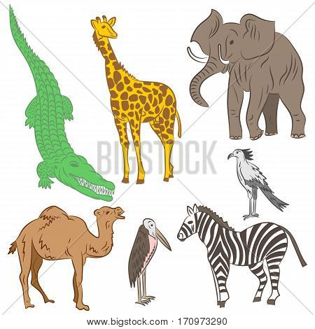 Colorful Hand Drawn African Animals and Birds. Doodle Drawings of Elephant Zebra Giraffe Camel Marabou and Secretary-bird. Flat Style. Vector Illustration.