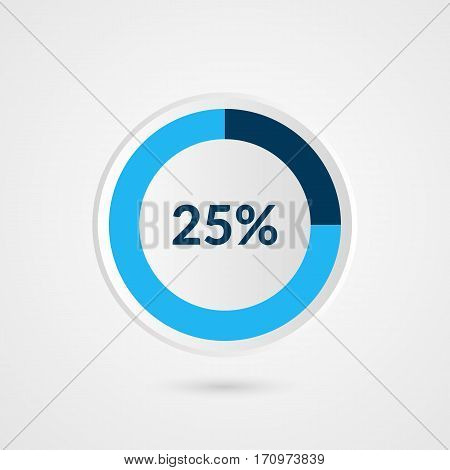 25 percent blue grey and white pie chart. Percentage vector infographics. Circle diagram business illustration