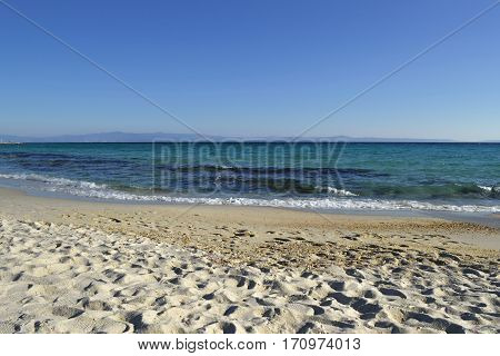 Seashore in October. Sand beach. Kassandra Halkidiki Greece