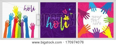 Set of cards for Holi festival in India.Brightly colored posters with colorful hand. Logo Holi. Banner with a wish a happy holiday.beautiful background for flyers, postcards .vector illustration.