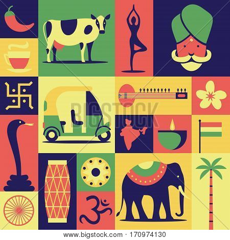 India, vector flat illustration, icon set, pattern, background: Hindu, yoga, snake cobra, car, sitar, lotus flower, drum om map elephant indian tea cow palm tree flag pepper