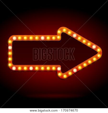 Light Bulbs Vintage Neon Glow Arrow Frame Can Be Used for Cinema, Casino, Show or Cafe Bar Design. Vector illustration