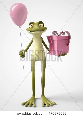 3D rendering of a smiling cartoon frog holding a pink balloon in one hand and a birthday gift in the other. White background.