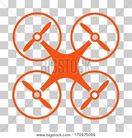 Copter icon. Vector illustration style is flat iconic symbol orange color transparent background. Designed for web and software interfaces.