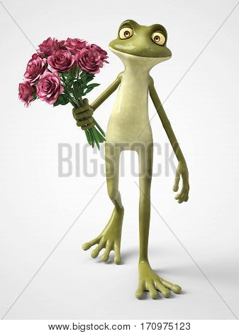 3D rendering of a smiling romantic cartoon frog holding a bouquet of roses. White background.