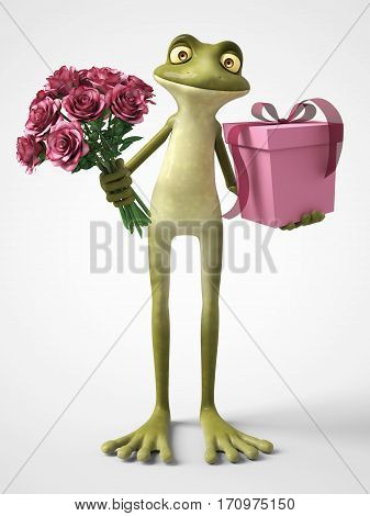 3D rendering of a smiling romantic cartoon frog holding a bouquet of pink roses in one hand and a gift in the other. White background.