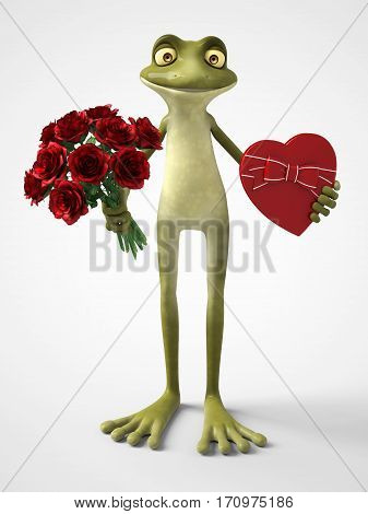 3D rendering of a smiling romantic cartoon frog holding a red heart shaped chocolate box in one hand and a bouquet of roses in the other hand. White background.